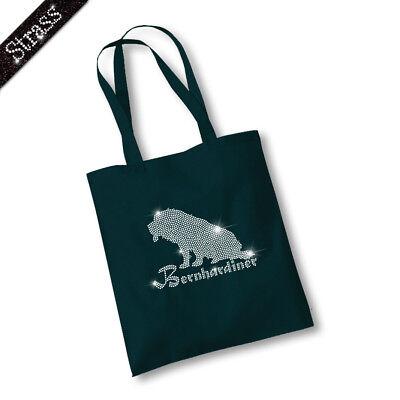 Jutebeutel Beutel Bag Einkaufstasche Shopper Strass Hund Bernhardiner M1