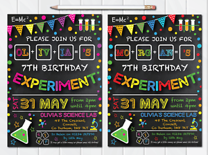 10 personalised science birthday party invites invitations boy girl