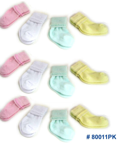 Yellow Green Cotton NEW White 12 PAIR Infant Baby 0-6 month Socks Girls Pink