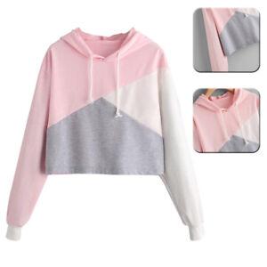 Mujer-Sudadera-con-Capucha-Sueter-Blusas-Cortas-Blusa-Camisas-Empalme-de-Colores