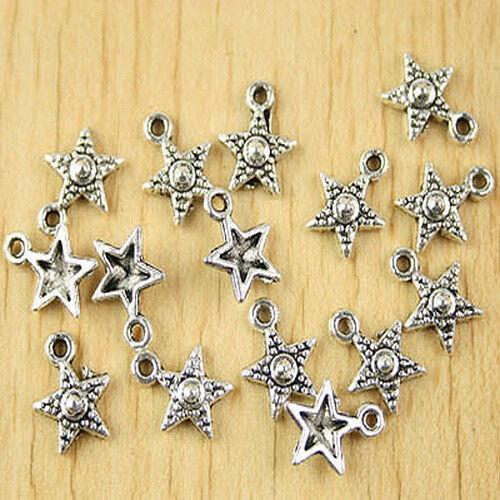 55pcs Tibetan silver stars charms H2658