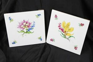 2x Belle Vieux Schmuckfliese Fleurs Déco Murale Pirna Copitz Porcelaine Peinture Prix Fou