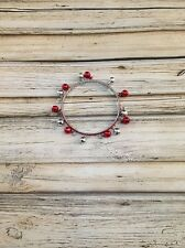 Red And Silver Jingle Bell Bracelet For Christmas