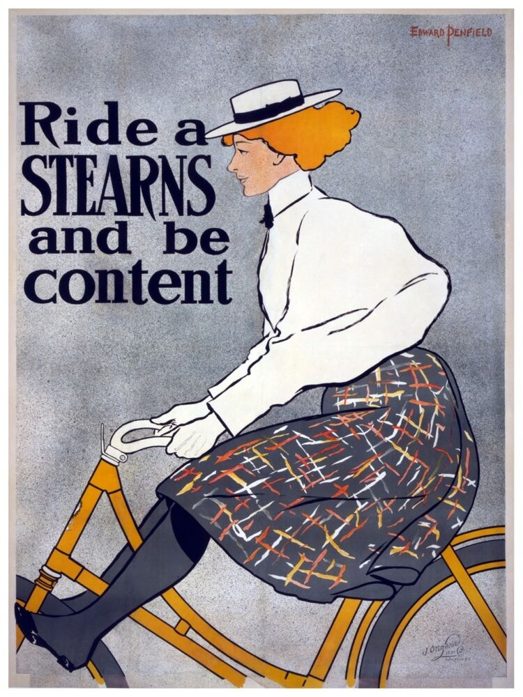 5547.Ride a STEARNS and be content.woman riding bike.POSTER. Home Office decor