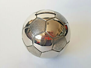 SILVER-PLATED-FOOTBALL-Shaped-Moneybox-Complete-With-Stopper-EXCELLENT-CONDITION