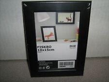 "Lot of 2 Ikea FISKBO 4"" x 6"" Wood Picture Document Frame Black"