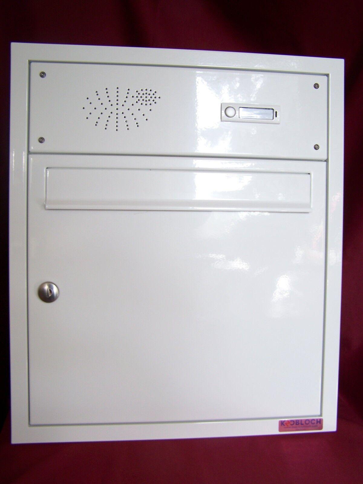 Unterputz Briefkastenanlage Mauer Briefkasten weiß 1 Klingel Wand einbau UPH07