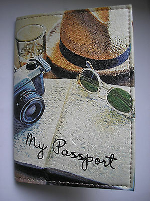 PASSPORT Cover Case Travel Wallet I LOVE TRAVEL  Faux leather  Romantic  NEW