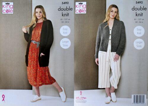 KNITTING PATTERN Ladies Easy Knit Long Jacket /& Short Cardigan DK King Cole 5492