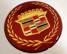 "4 New Cadillac Tru Spoke 1 3/4"" Burgundy & Gold Wire Wheel Cap Emblems!"
