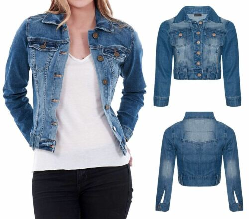 Womens Blue Denim Mid Wash Long Sleeve Light Button Mid Length Jean Jacket