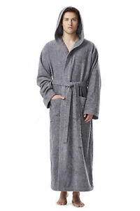 MENS PRINCE STYLE HOODED FULL LENGTH LONG BATHROBE TURKISH COTTON ... e1547a3e5