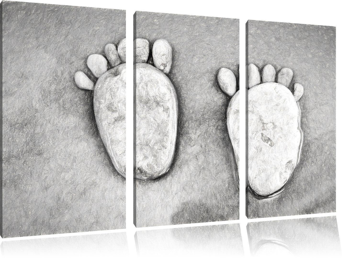 Impronte piedi con pietre gelegt 3 teiler su quadro su 3 teiler tel