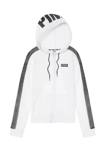 Details about  /NWT Victoria/'s Secret PINK Perfect Full Zip Hoodie White Gray Mesh Sleeves S
