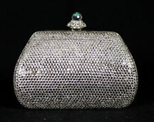 JUDITH LEIBER Clear Rhine Crystal Encrusted Metal Minaudiere Evening Bag