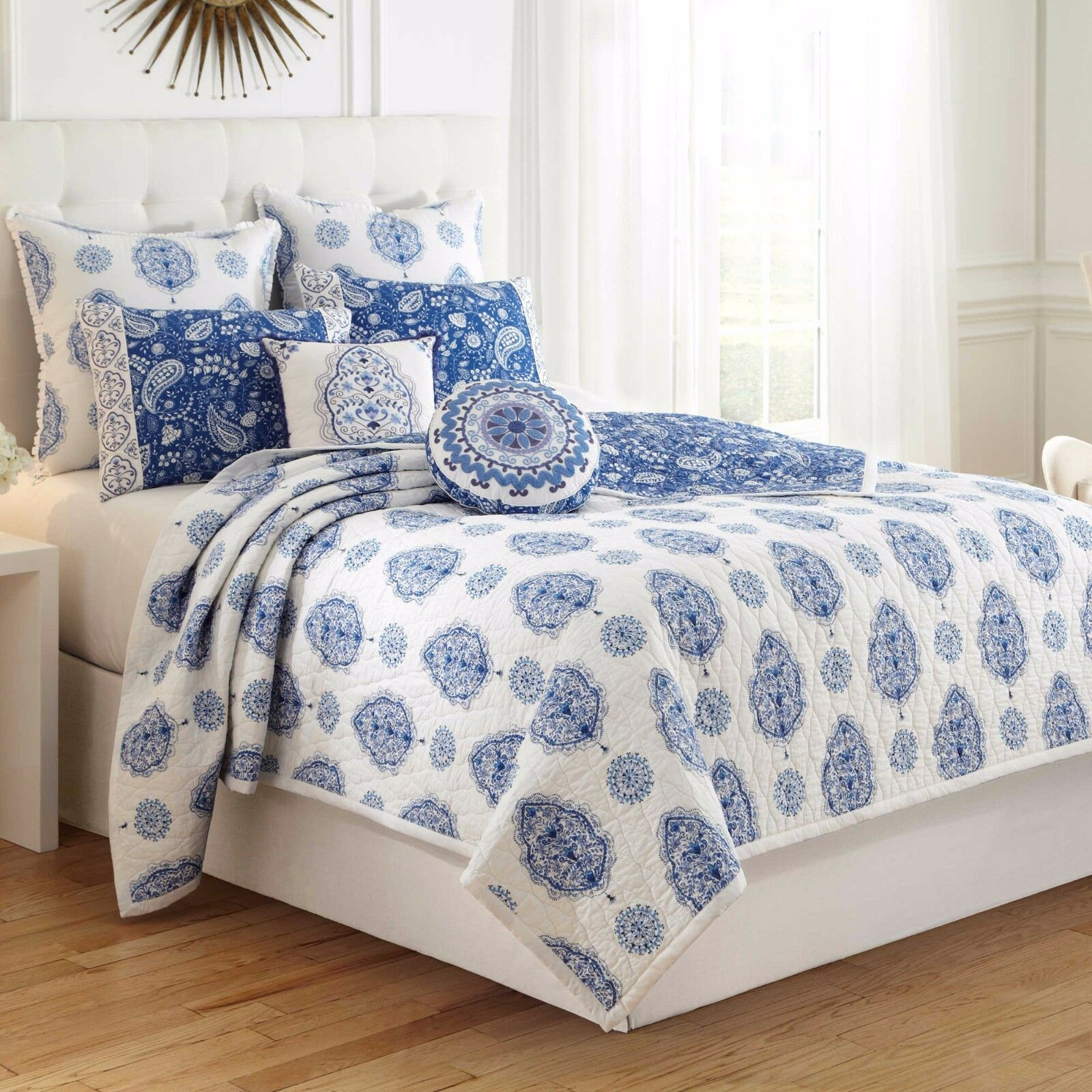 DENA HOME SOLANGE 5PC SET, 1 FULL QUEEN QUILT COVER  2 STANDARD 2 EURO SHAMS