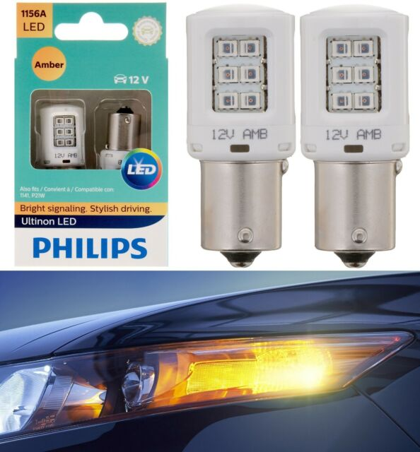 Philips Ultinon LED Light 1156 Amber Orange Two Bulbs Front Turn Signal Replace