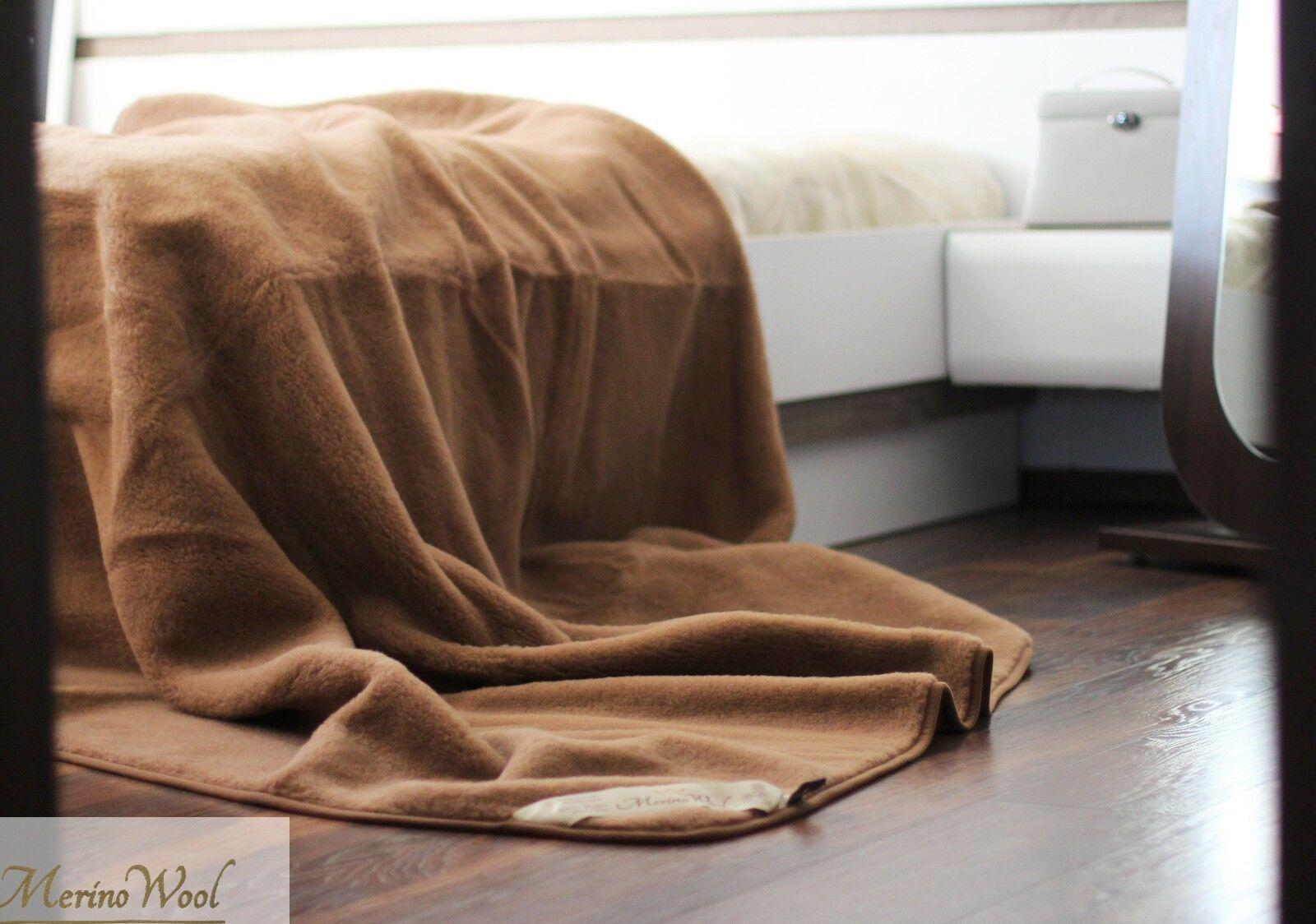 NEW LUXURY 100% Merino Wool Throw König Camel Blanket 200 200cm Bett braun BLANKET
