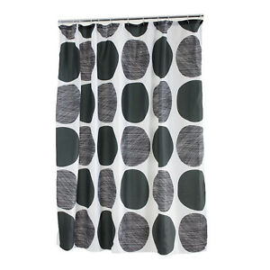 Image Is Loading Enzo Barelli POLYESTER BLACK GREY CIRCLES SHOWER CURTAIN