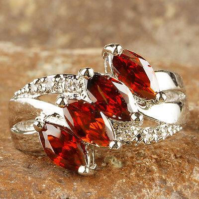 Lover Marquise Cut Garnet & White Topaz Gemstone Silver Ring Size 6 7 8 9 10 11