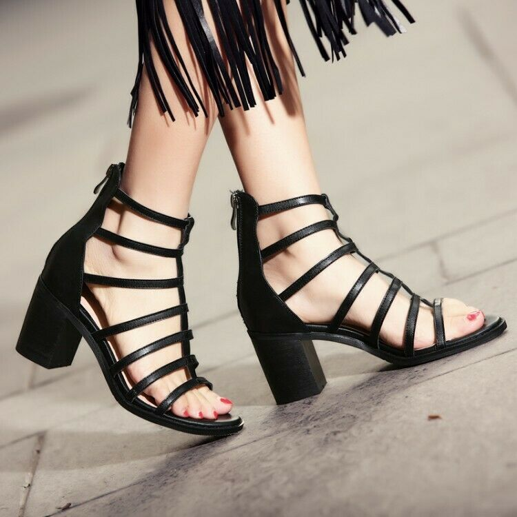 Women Roman Gladiator Sandals High Heels Chunky Lace Up Zip Party Pumps shoes