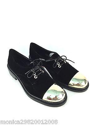 Zara Terciopelo Negro Zapatos Con Puntera Metal Oro Talla UK5/EUR38/US7.5