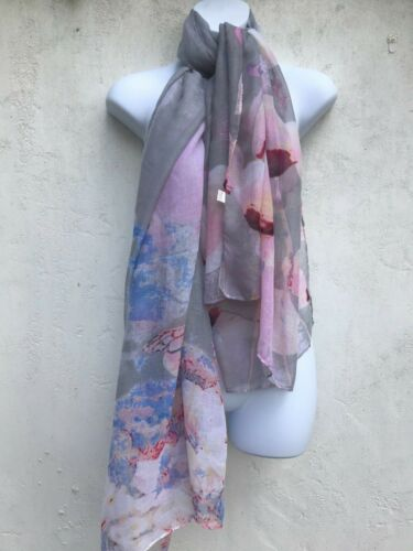 CAPIZ LOVELY WOMENS SHEER FINE FLORAL BEACH SUMMER PINK FLORAL SCARF WRAP SHAWL