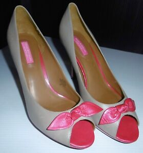 Isaac-Mizrahi-Israya-Leather-Platform-Pumps-Beige-with-Pink-Bow-amp-Accents-11M