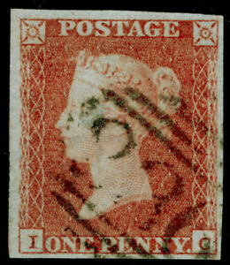 SG8-1d-red-brown-PLATE-92-FINE-USED-Cat-40-4-MARGINS