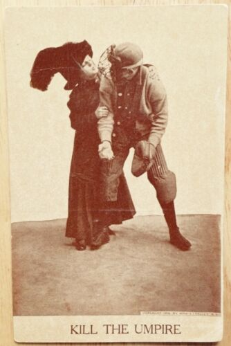 1910 KILL THE UMPIRE, WOMAN KISSING BASEBALL CATCHER ROMANCE POSTCARD