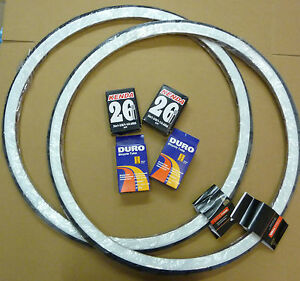 Pair-26-x-1-3-8-White-wall-Raleigh-Record-Tyres-amp-add-Innertubes-37-590-Bicycle