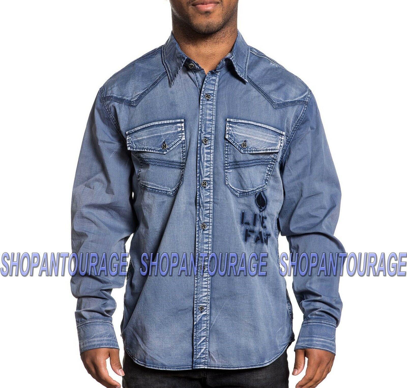 AFFLICTION Heath 110WV664 Men`s New Blau Long Sleeve Button-Down Shirt