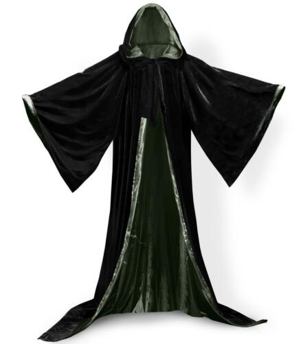 Noir et Bleu cape à capuche manteau Assistant Robes Renaissance Nouveau Stock