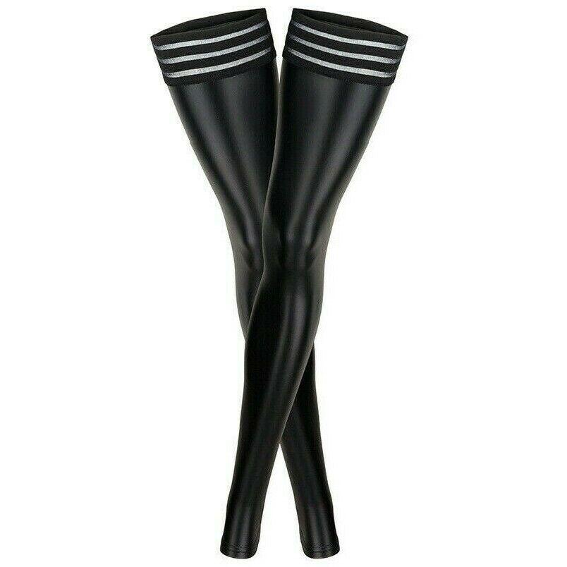 Damen Kunstleder Leggings Strümpfe Überknie Lack-Optik Schenkelhohe Socken Neu