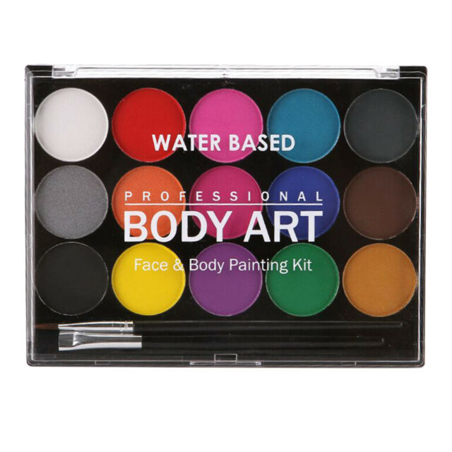15 COLORS FACE BODY PAINT MAKE UP KIT HALLOWEEN FANCY DRESS BEAUTY PALETTE