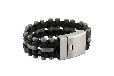 Angemessen Herren Leder Edelstahl Armband Matt 24 Mm Geflochten 21,5 Cm Mode Schmuck 21,5 C