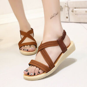 Summer-Womens-Bohemia-Elastic-Cross-Sandals-Flats-Roman-Casual-Beach-Shoes