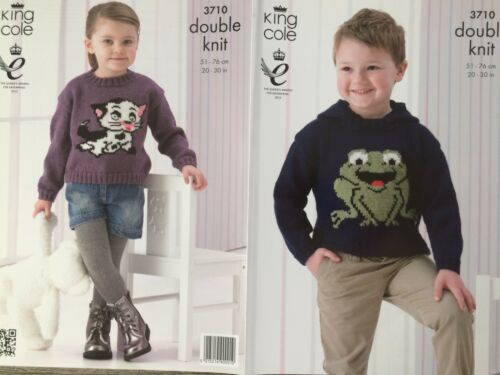 """20-30/"""" King Cole Knitting Pattern: Childs Frog /& Cat Sweaters 3710 DK"""