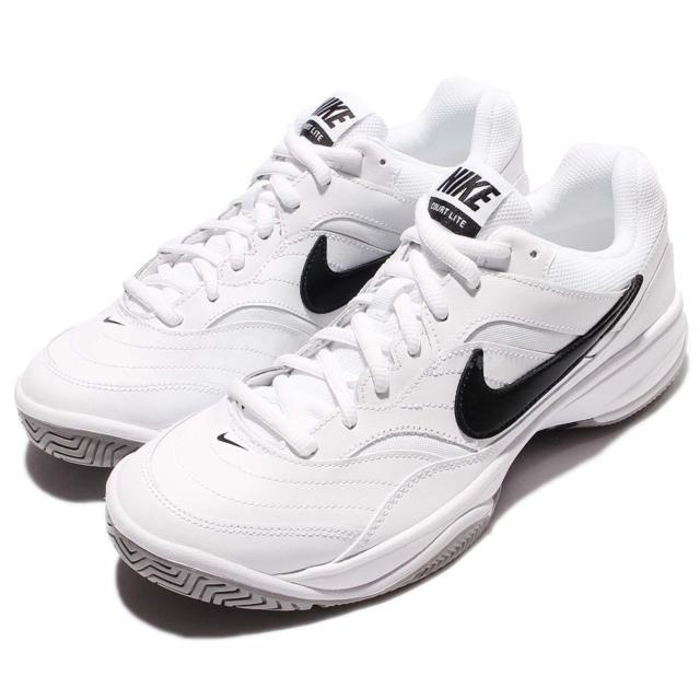 Mens Nike Court Lite blanc / Noir / Gris  Hommes Trainers Shoe