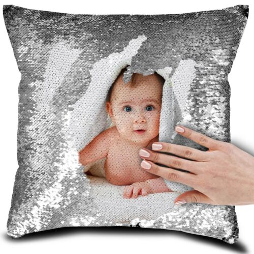 Personalised Photo Name Text Sequin Pillow Cushion Cover Magic MOTHERS DAY GIFT