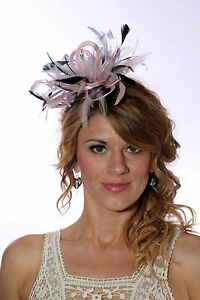 6cb7057d773 Baby Pink   Navy Fascinator Hat any satin highlight feather colour ...