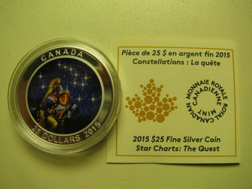 2015 Proof $25 Star Charts #1-Quest GITD .9999 silver COIN/&COA ONLY twenty-five
