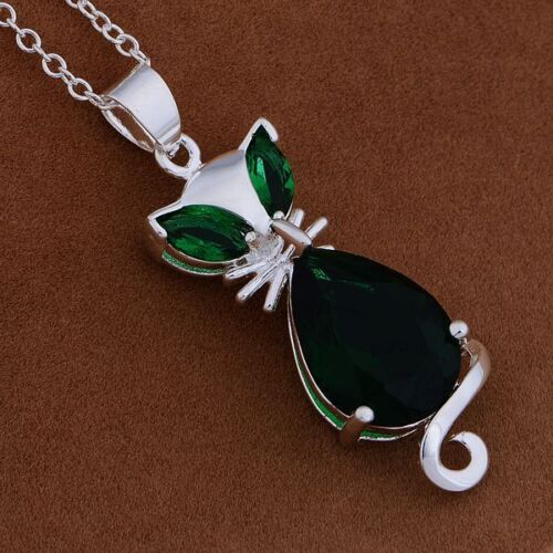 charms noble Silver Fashion Crystal Cat Wedding Lady pendant necklace Jewelry
