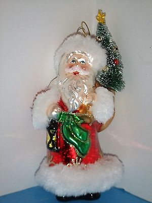 SANTA CLAUS WITH WREATH AND SACK OLD WORLD CHRISTMAS GLASS ORNAMENT NWT 40279
