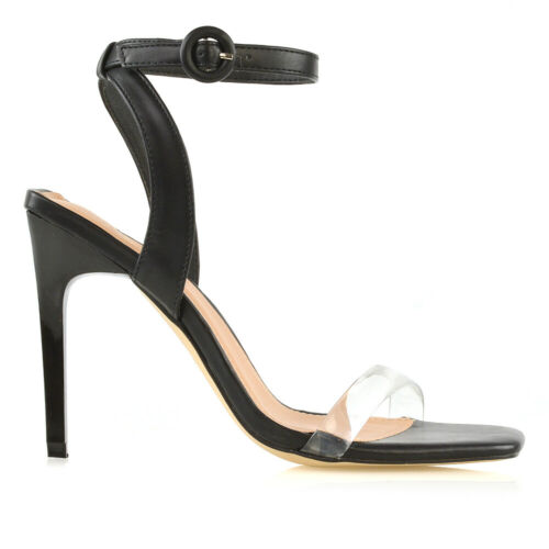 Womens Ankle Strap Sandals Perspex Toe Strap Ladies Stiletto Party Shoes Size