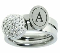 Qvc Steel By Design Stainless Steel Set Of 2 Crystal Initial Letter Stack Ring