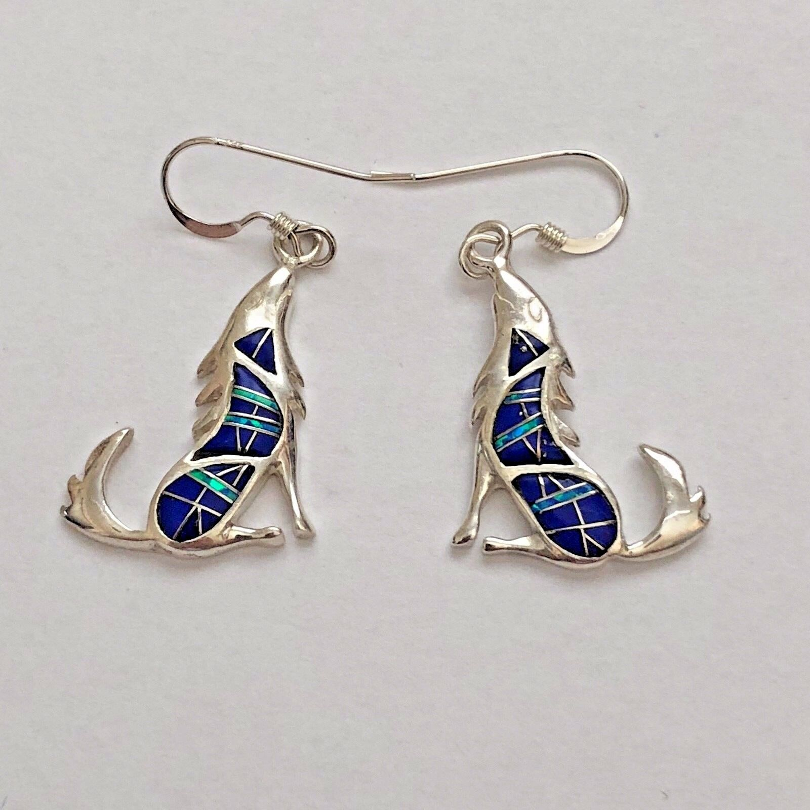 Sterling Silver Multi Stone Inlay Opal Lapis Onyx Howling Wolf Hook Earrings
