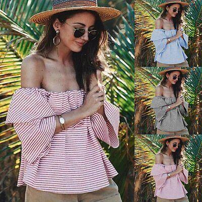 Fashion Women Summer Off Shoulder Tops Short Sleeve Loose Casual Blouse T-Shirt