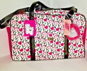 LUV-Betsey-Johnson-Weekender-Quilted-Overnighter-Fuschia-Logo-Travel-BAG