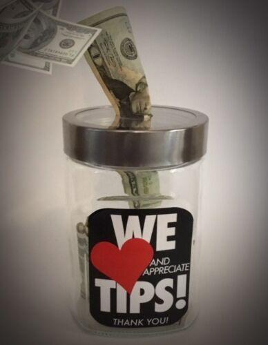 """sst rim /"""" WE LOVE TIPS/"""" Imprinted Tip Jar RESTAURANT SERVERS GLASS Tip box"""